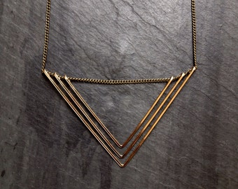 Geometric Gold Deco Triangle Necklace, Hammered Gold, Hammered Silver, Geometric Gold Necklace, Triangles, Gold Triangle, Modern, Minimalist