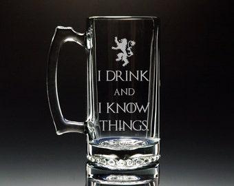 I Drink And I Know Things, Game of Thrones Mug, Tyrion Lannister, Beer Mug, Glass Mug
