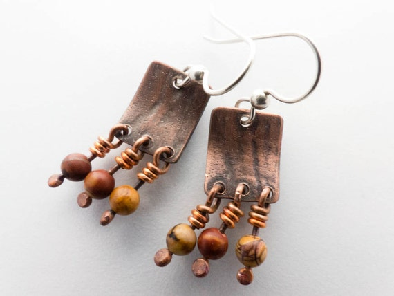 Handmade Copper Picasso Jasper Bead Earrings