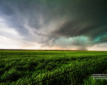 Storm Photography, Distant Thunderstorm, Landscape Photography, Teal, Green, Wall Art, Acessories, Storm Picture, Oklahoma Scenery, Fine Art