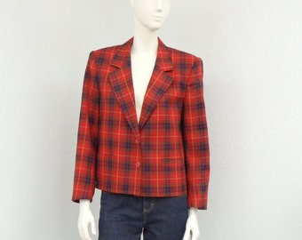 Vintage 80s Red Plaid Blazer Jacket, Cropped Blazer, Oversized Blazer, Wool Blazer, Womens Outerwear, Preppy Blazer