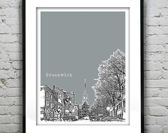 Greenwich Connecticut Poster Print Art Skyline CT version 2