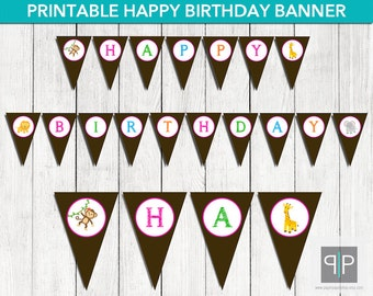 INSTANT DOWNLOAD, Printable Jungle Birthday Bunting Banner, Printable Safari Birthday Banner, Zoo Birthday Banner, Monkey, Giraffe, Lion