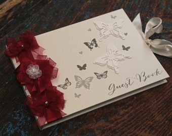 Wedding Guest Book - Hand Decorated - (All Colours) - Burgundy Wedding Guest Book