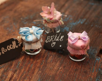 Wedding Favour Jars (With Place Name Tag) - Packs of 20 - With Mini Hand Made Bows - Wedding Favours with Name Tags