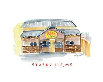 "Rick's Cafe Americain   Starkville Mississippi Restaurant Print   Watercolor Print   8 x 10"""