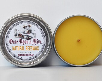 Natural Beeswax Candle Tin | 4 oz. Candle | Travel Tin | Container Candle | Unscented
