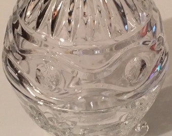 """Vintage Egg Shaped Footed Glass Dish 4"""""""