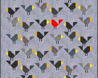 Black Birds Quilt Pattern, PDF, Instant Download, modern patchwork, bird, baby, cute, crib, baby quilt