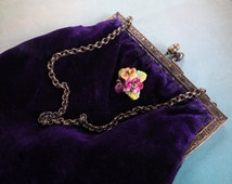 Antique Purple Silk Velvet  Purse with Acorn Clasp - English Bone China Pansy Flower Brooch - Vintage Pocketbook -  Formal Evening Bag