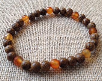 Mens 8mm wood and Carnelian stretch bracelet