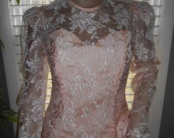 ON SALE Vintage 80's Peach Lace Special Occasion Dress / Designer Nancy Bracoloni