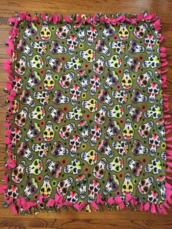 Sugar Skull Fleece Tie Blanket