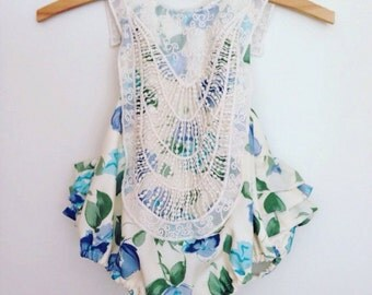 Vintage-inspired, floral, lace-collared romper - made to order