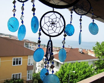 Free Shipping/Blue Dream Catcher/One Oversize and Four Little Circle Dream Catcher/Indian Symbols
