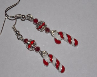 Red Christmas Candy Cane Earrings