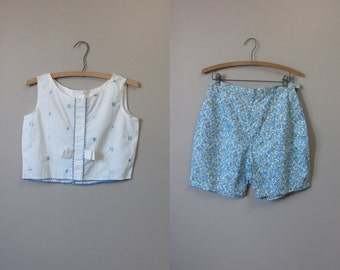 1950s summer crop top and shorts set • 50's mid century play suit set