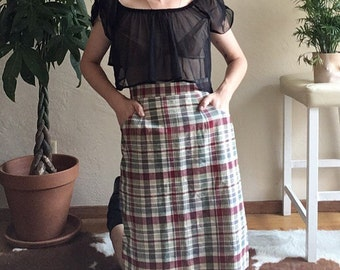 80s Plaid Front Pocket Skirt