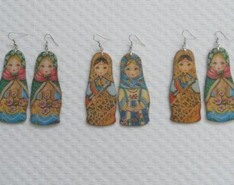 SALE.3 pair Large Matrioshka earrings for your choice.Russian doll/nesting doll/babushka/ jewelry.