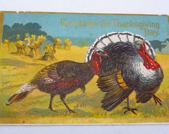Antique 1900s Thanksgiving Turkey Greeting Postcard 21543