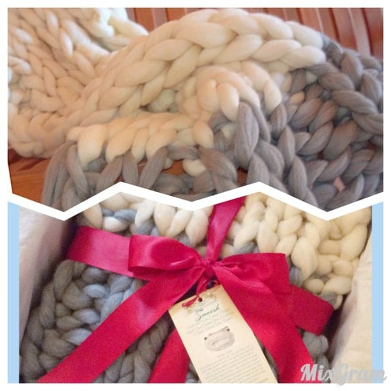 "Chunky Throw Parfait style - design your own SMOOSH 34x56"" two color 100% Merino Wool knit blanket. Giant Knit Chunky Throw."