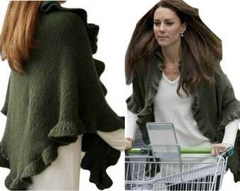Kate Middleton Shawl, Kate Middleton Olive Green Three Sides Ruffled Cute Shawl, Handknit, Wool, Express Delivery
