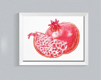 Pomegranates art print Pomegranate watercolor print fruit art print Judaica art Rosh Hashanah garnet red Pomegranate Kitchen Art home decor
