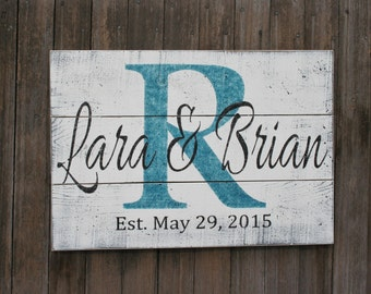 Personalized Name Sign Pallet Wood Sign Family Name Sign Shabby Chic Wall Decor Personalized Wedding Gift Bridal Shower Gift Handmade Teal