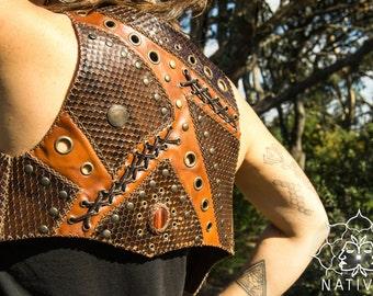 TUPI Leather Vest // Handmade Tribal Clothing