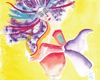 Fairy Go Lightly Birthday card, 5x7 watercolor print with envelope