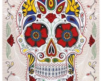 3D Sugar Skull Tapestry 60X90 Day of The Dead Dia De Los Muertos White Black