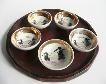 Sake cups - Japanese antique porcelain - set of 5 - popular sights of Kyoto - hand painted - WhatsForPudding #1283