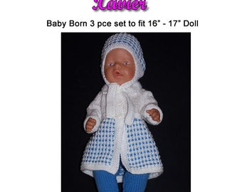 Baby Born Knitting Pattern, XAVIER fits 16 to 17 inch dolls (pattern only)