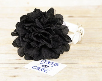 Black Wrinkled Chiffon Mesh Dog Collar Flower Accessory, (Collar not included), Pet Photographer, Prop, Collar Accessory, Focus for a Cause