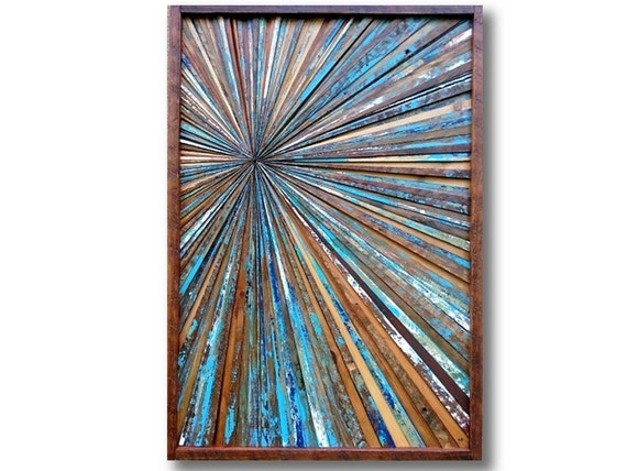 reclaimed wood artwork wall starburst sculpture blue brown. Black Bedroom Furniture Sets. Home Design Ideas