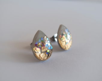 Gray and Gold Drop Stud Earrings - Hypoallergenic Surgical Steel Posts