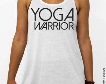Yoga Warrior - White Flowy Racerback Tank Top