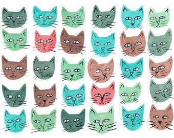 Cute cat print, cute cat art, kitten art, cat painting, cat print, cat illustration, cat illustration, cute cat art, nursery art
