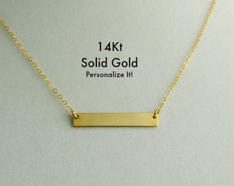 14K Gold Bar Necklace, Real Gold Bar Necklace Name Initial Personalized, Solid Gold Bar Necklace, 14k Rose Gold Bar, 14K White Gold,