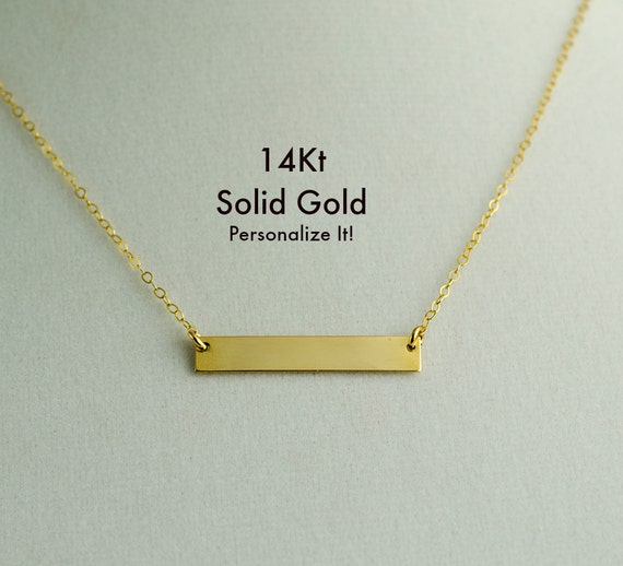 14k Gold Bar Necklace Real Gold Bar Necklace Name Initial