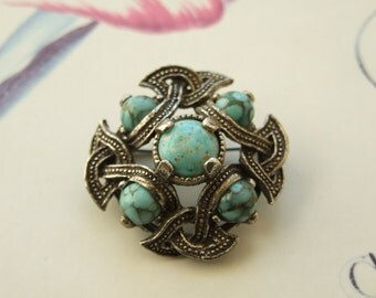 Vintage brooch with turquoise style stones     171