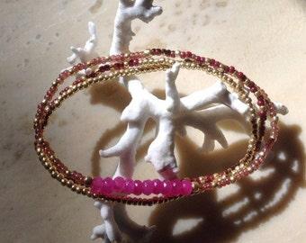 Boho Stone and Seed Bead Stretch Wrap Bracelet (Shades of Pink)