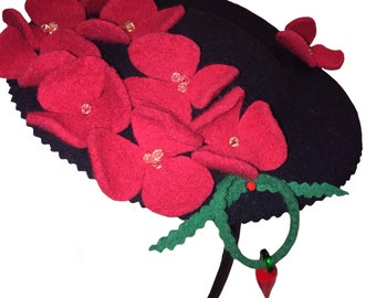 Fascinator with felt red flowers