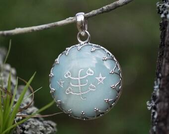 Engraved Amazonite Bahá'í Pendant