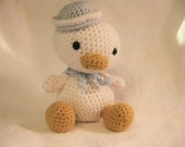 Crochet Stuffed Animal Gift Under 40. White Duck Baby Blue Sailor Hat and Shawl Free Shipping Inexpensive Baby Shower Birthday Easter Gift