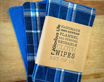10 Flannel Wipes,Reusable Baby Wipes, Family Cloth - set of 10