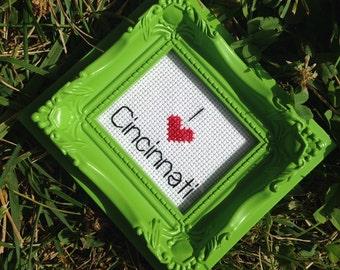 "I Heart ""My City/State/Item"" Cross Stitch Magnet"