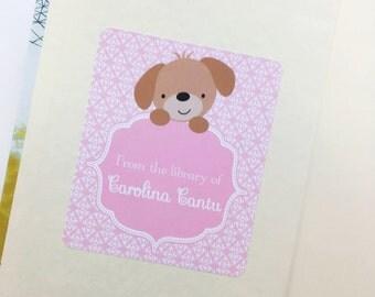 Personalized Bookplate Sticker-Pink Puppy