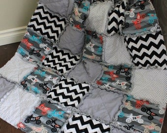 Baby Rag Quilt, Dirt Bike Baby Quilt, Motocross, Black And Grey, Crib Quilt, Ready To Ship