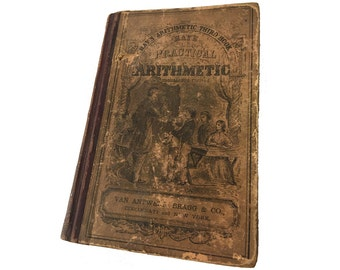 """1881 Book, """"Ray's Arithmetic, Third Book"""", Small School Book, Antique, 135 Years Old"""